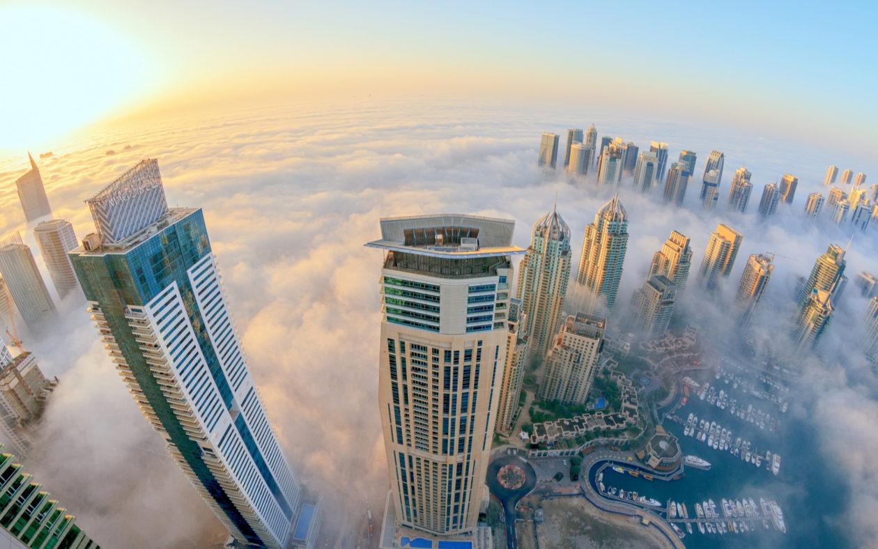 Dubai Buildings Skyscrapers Clouds Fog Mist Sunlight Fisheye Wallpaper